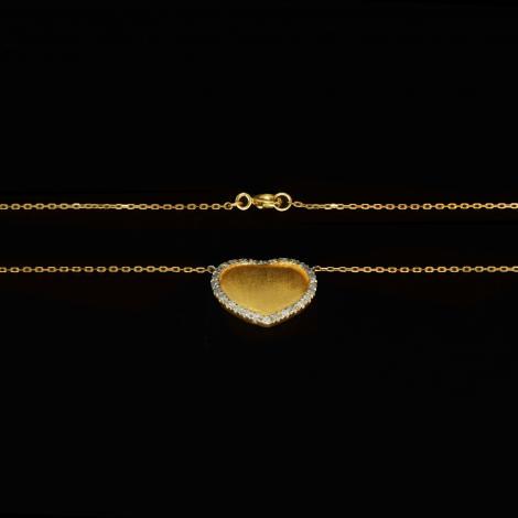 Gargantilha, Ouro, coração, 28 brilhantes 3.6gr